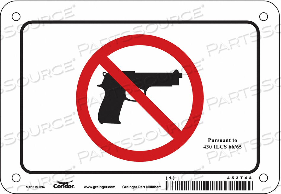 NO CONCEALED WEAPONS SIGN 6 W 4 H by Condor