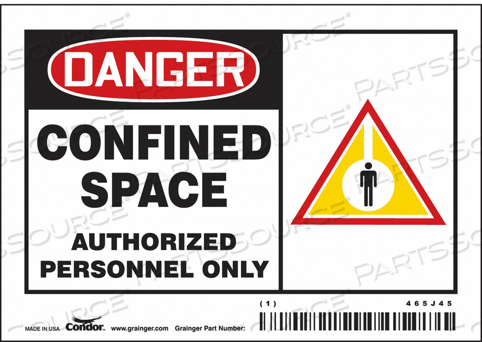 SAFETY SIGN 3-1/2 H 5 W VINYL by Condor