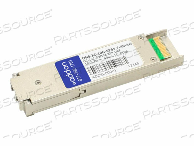 ADDON - XFP TRANSCEIVER MODULE (EQUIVALENT TO: CISCO ONS-XC-10G-EP55.7) - DWDM - LC SINGLE-MODE - UP TO 24.9 MILES - OC-192 - CHANNEL: 27 - 1555.75 NM