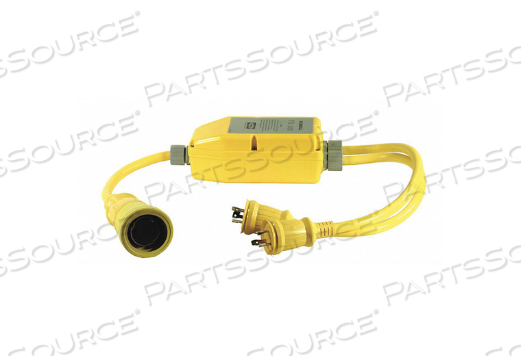 MARINE ADAPTER, 4.6 FT, 50 A, 120/240 VAC, 10 AWG, (2) 30A 125V LOCKING TO 50A 125/250V 2P 3W TWIST-LOCK, YELLOW by Hubbell Incorporated, Wiring Device-Kellums