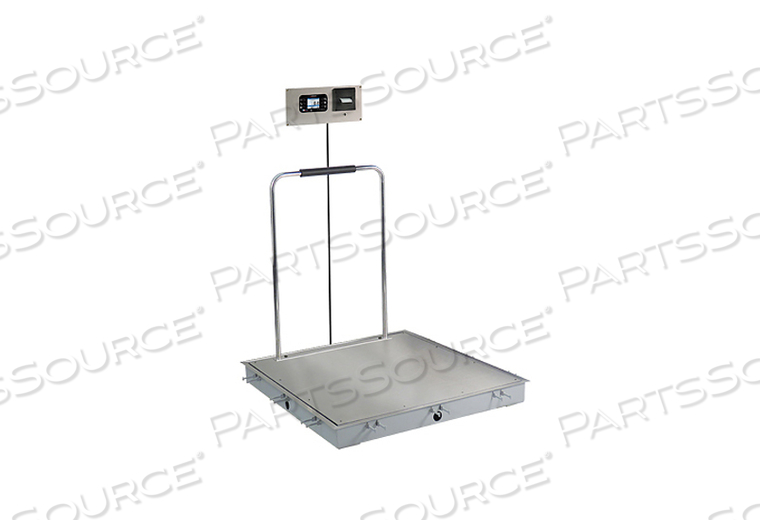 IN-FLOOR DIALYSIS SCALE, 1000 LB X 0.2 LB, 3 X 3 FT, SS DECK, 855 RECESSED WALL-MOUNT INDICATOR WITH PRINTER, HAND RAIL by Detecto Scale / Cardinal Scale