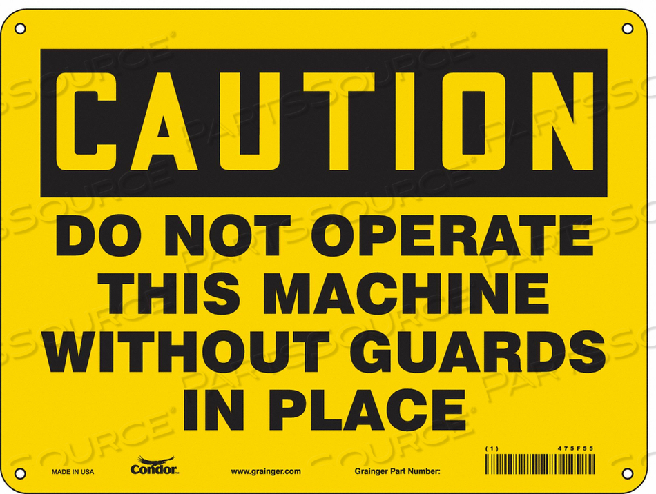 SAFETY SIGN 12 WX9 H 0.060 THICKNESS by Condor