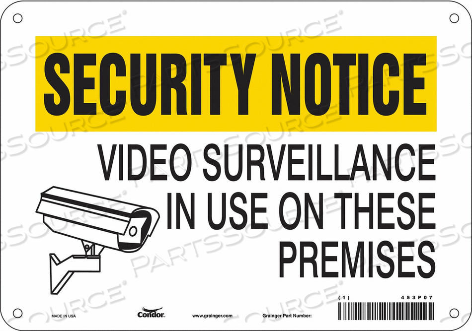 J7031 SECURITY SIGN 7 H 10 W PLASTIC by Condor
