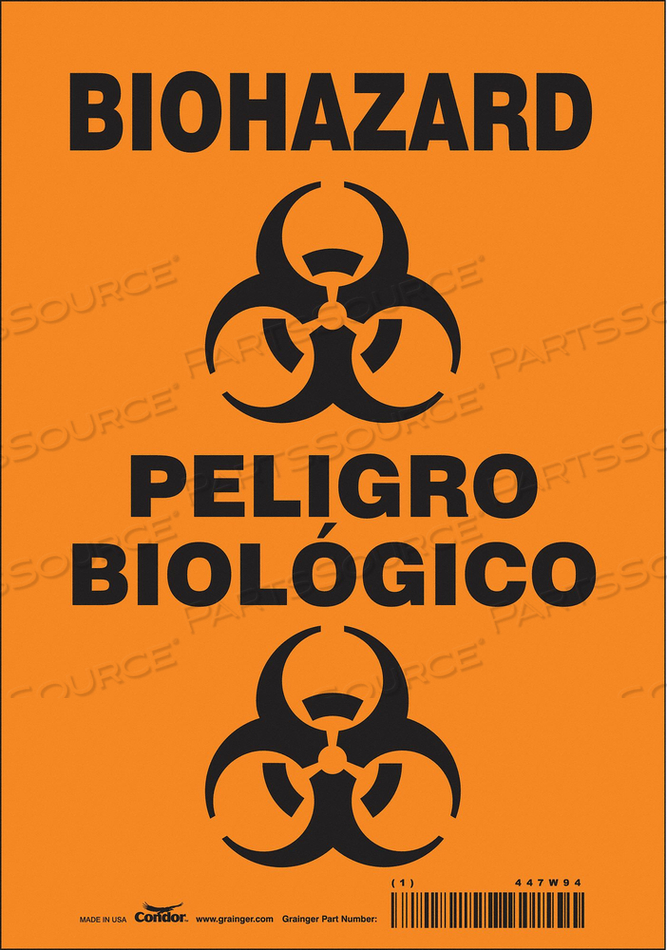 BIOHAZARD SIGN 7 W 10 H 0.004 THICK by Condor