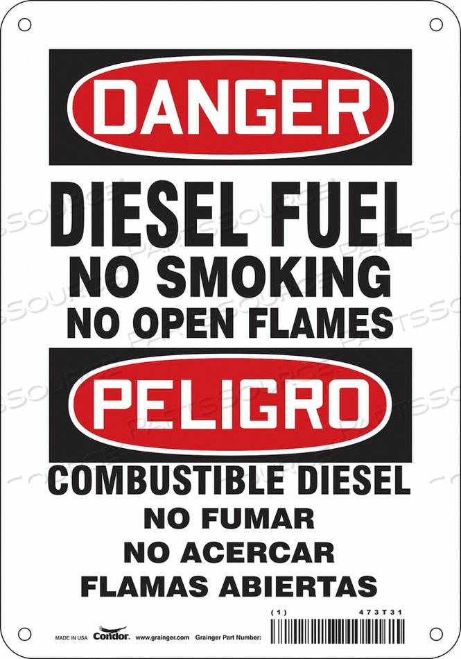 NO SMOKING SIGN 7 WX10 H 0.055 THICK by Condor