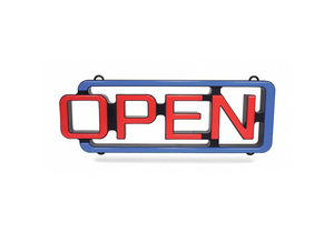 LED OPEN SIGN PLASTIC 2-13/64 W by CM Global