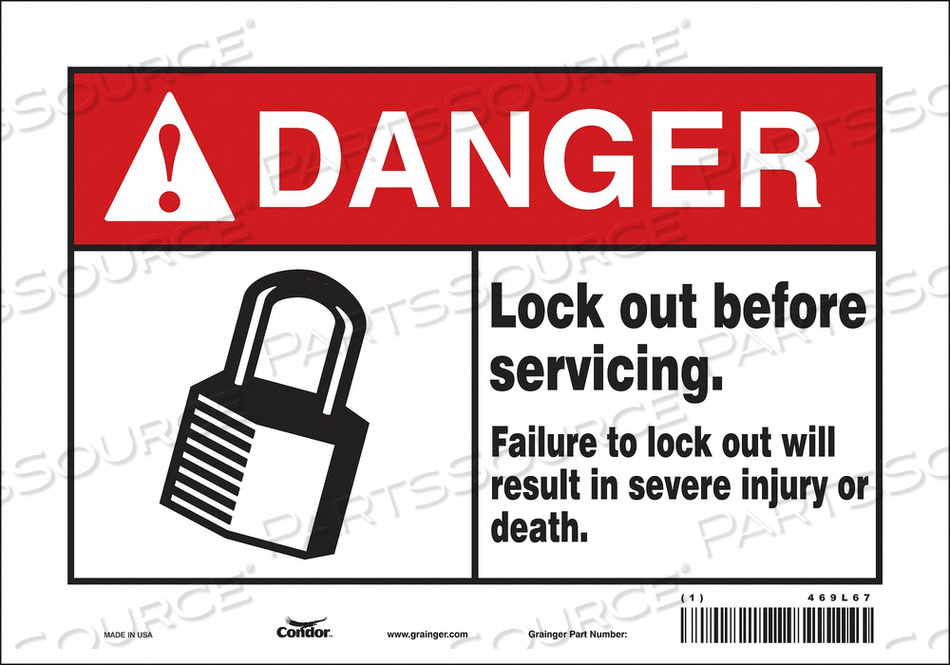 SAFETY SIGN 10 W 7 H 0.004 THICKNESS by Condor