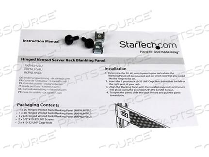 "STARTECH.COM 4U VENTED BLANK PANEL WITH HINGE - SERVER RACK FILLER PANEL - RACK BLANKING PANEL (VENTED) - BLACK - 4U - 19"" - FOR P/N: RK1219WALH, RK1219WALHM, RK1219WALL, RK2236BKF, RK2536BKF, RKQMCAB12, RKWOODCAB12 by StarTech.com Ltd."