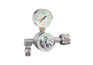 SINGLE STAGE PRESET REGULATOR, CGA 540 HAND TIGHT NUT AND NIPPLE, 50 PSI PRESET, 3000 PSI INLET, MEETS FDA, ISO 9001, 2 IN DIA by Western Enterprises