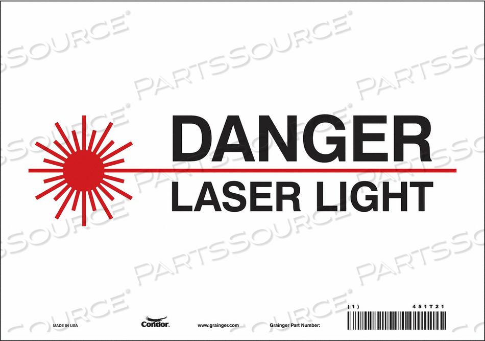 J7008 LASER WARNING 10 W 7 H 0.004 THICK by Condor