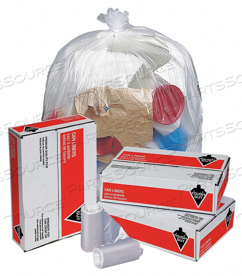 TRASH BAGS 56 GAL. CLEAR PK200 by Tough Guy
