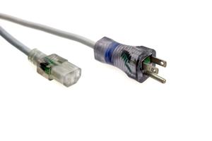 POWER CORD, 10 FT, 13 A, 125 V, 16 AWG, NEMA 5-15P TO IEC 320-C13, GRAY, HOSPITAL GRADE by Quail Electronics