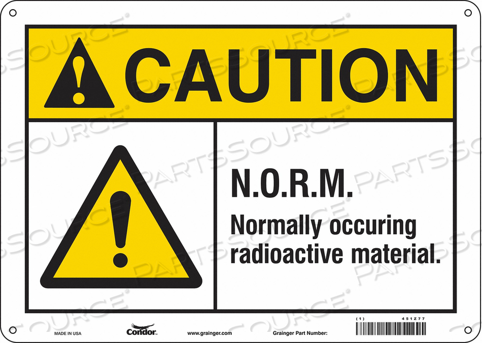 RADIATION SAFETY SIGN PLASTIC 10 H by Condor