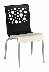 CHAIR BLACK/WHITE STACKABLE 35-1/2 H by Grosfillex