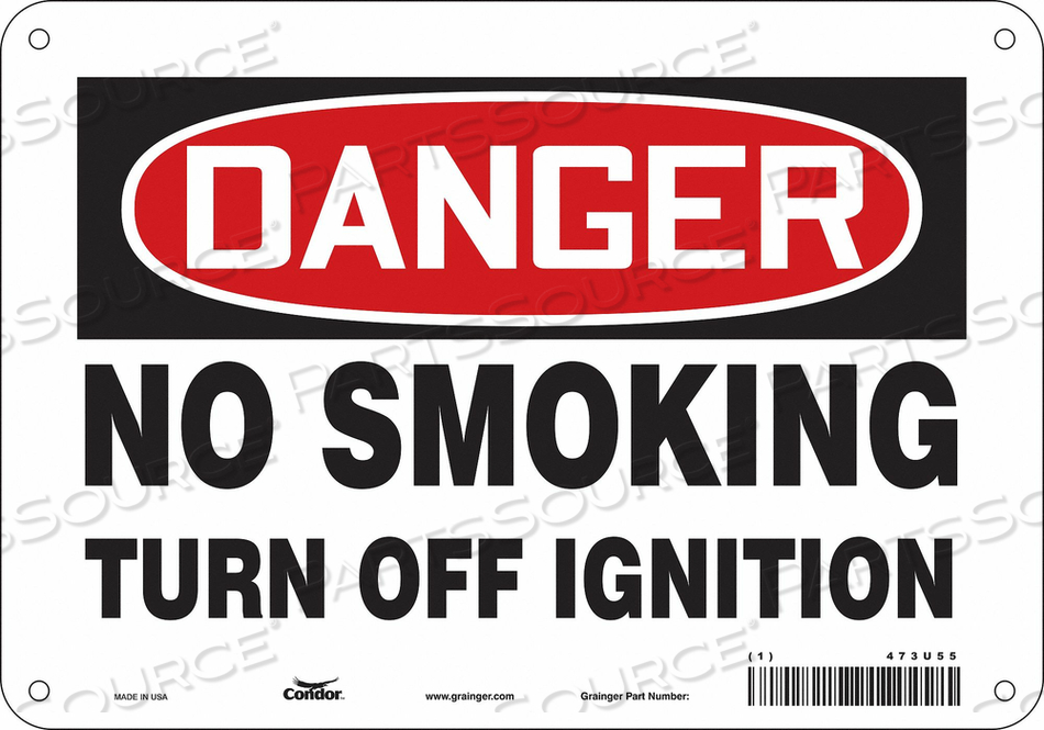 NO SMOKING SIGN 10 WX7 H 0.055 THICK by Condor