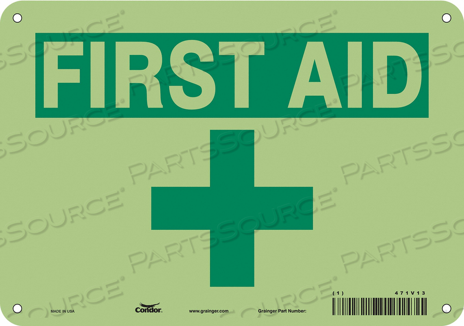 FIRST AID SIGN 10 W X 7 H 0.070 THICK by Condor