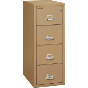 """FIREPROOF 4 DRAWER VERTICAL FILE CABINET - LEGAL SIZE 21""""W X 31-1/2""""D X 53""""H - SAND by Fire King"""