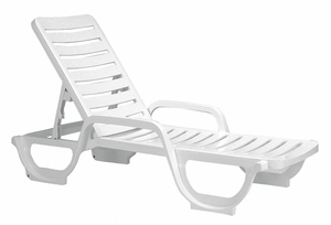 CHAISE LOUNGE ADJUSTABLE WHITE by Grosfillex