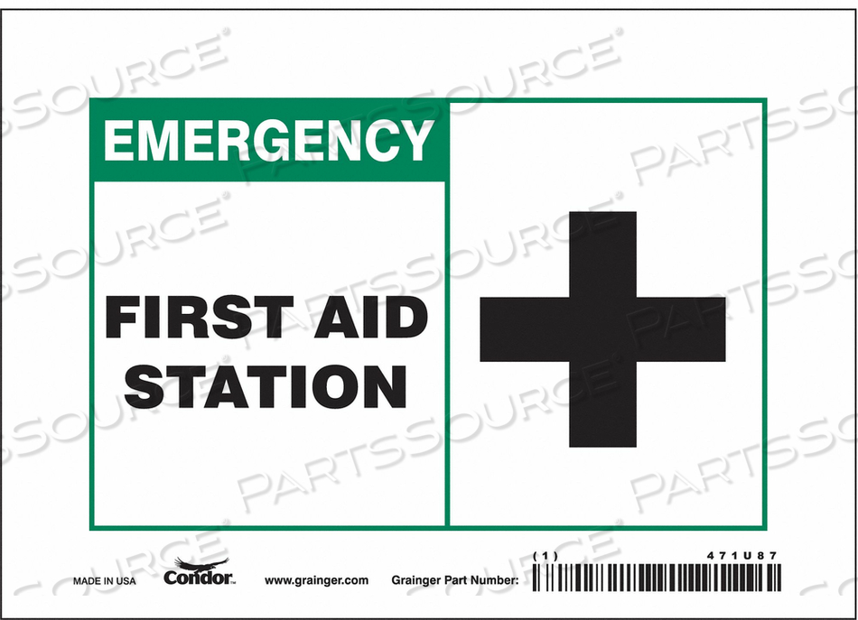 FIRST AID SIGN 7 W X 5 H 0.004 THICK by Condor