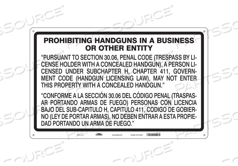 NO CONCEALED WEAPONS SIGN 48 W 30 H by Condor
