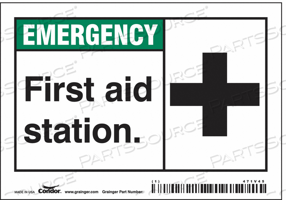 FIRST AID SIGN 5 WX3-1/2 H 0.004 THICK by Condor