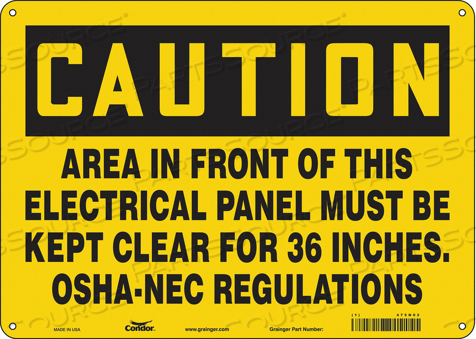 J6945 SAFETY SIGN 14 W 10 H 0.032 THICKNESS by Condor