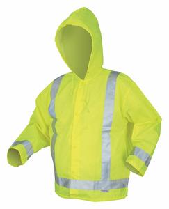 RAIN JACKET W/HOOD HI-VIS YELLOW/GRN 2XL by MCR Safety
