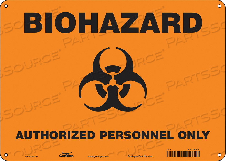 BIOHAZARD SIGN 14 W 10 H 0.060 THICK by Condor