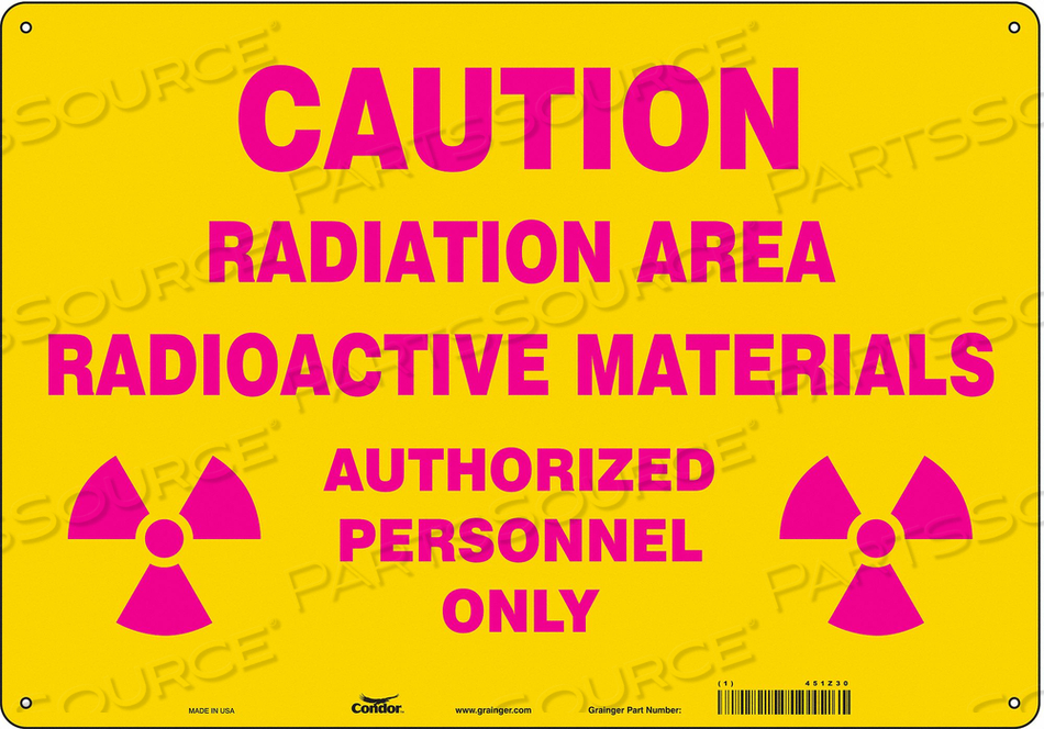 RADIATION SAFETY SIGN FIBERGLASS 14 H by Condor
