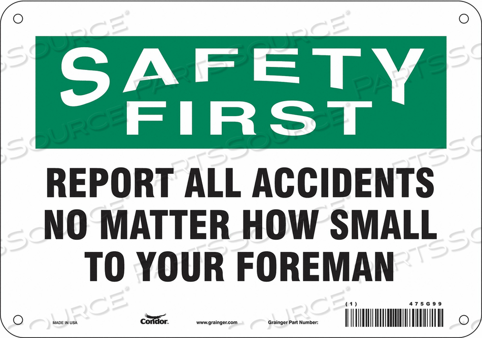 J7028 SAFETY SIGN 10 W 7 H 0.032 THICKNESS by Condor