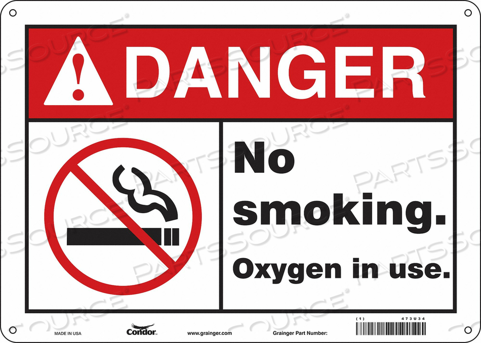 NO SMOKING SIGN 14 WX10 H 0.055 THICK by Condor
