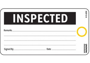 INSPECTED TAG 3 X 5-3/4 IN BK/WHT PK25 by Electromark