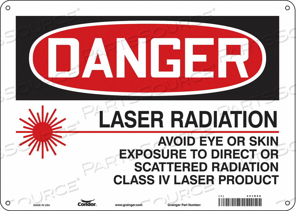 LASER WARNING 14 W 10 H 0.032 THICK by Condor