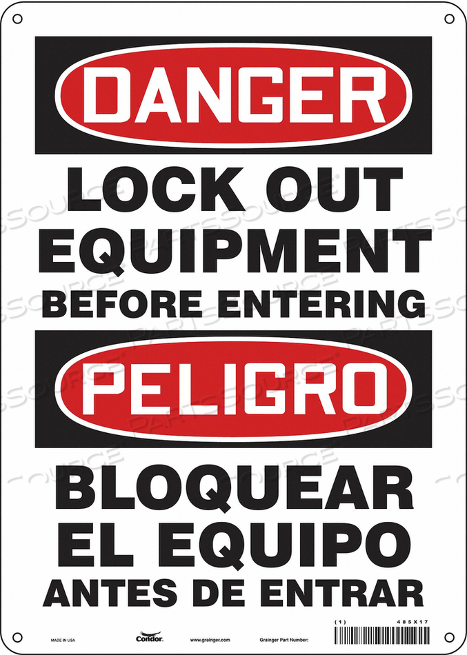 LOCKOUT SIGN 10 W 14 H 0.032 THICKNESS by Condor