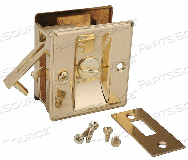 POCKET DOOR PRIVACY LOCK-BRIGHT BRASS by John Sterling