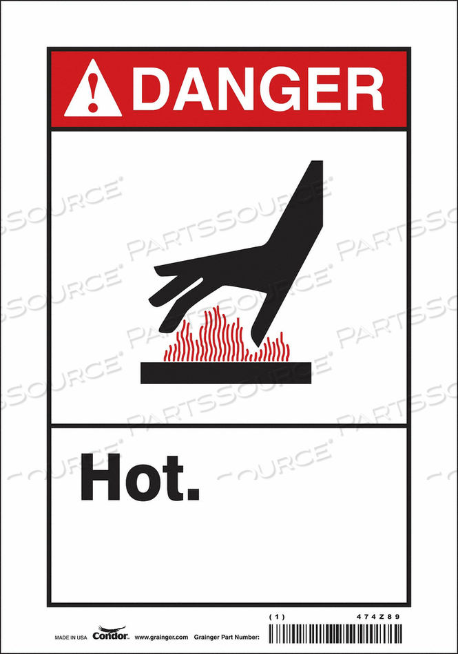 DANGER SIGN 7 W X 10 H 0.004 THICK by Condor