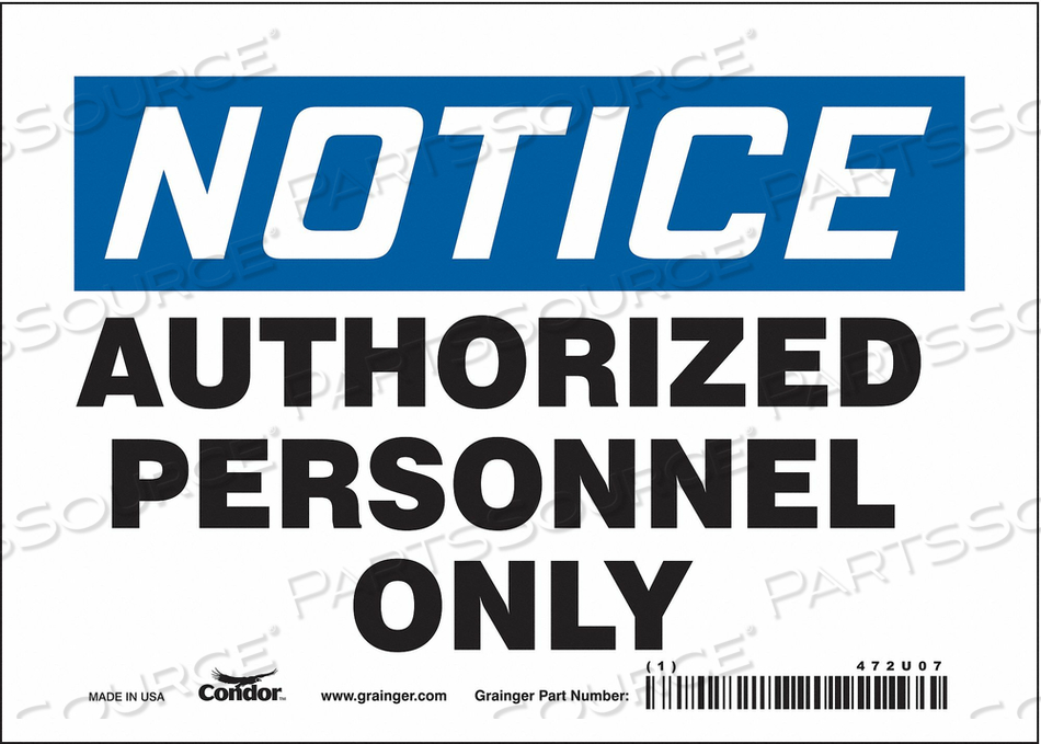 J6992 SAFETY SIGN 7 W 5 H 0.004 THICKNESS by Condor