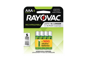 BATTERY RECHARGEABLE, AAA, NICKEL METAL HYDRIDE, 1.2V, 600 MAH, (PACK OF 4) by Rayovac