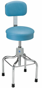 ANESTHETIST STOOL, STAINLESS STEEL, WITH BACK, LAKE BLUE by Pedigo Products, Inc.