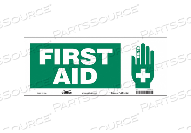 FIRST AID SIGN 17 W X 7 H 0.004 THICK by Condor