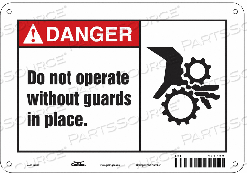 J6923 SAFETY SIGN 10 WX7 H 0.055 THICKNESS by Condor