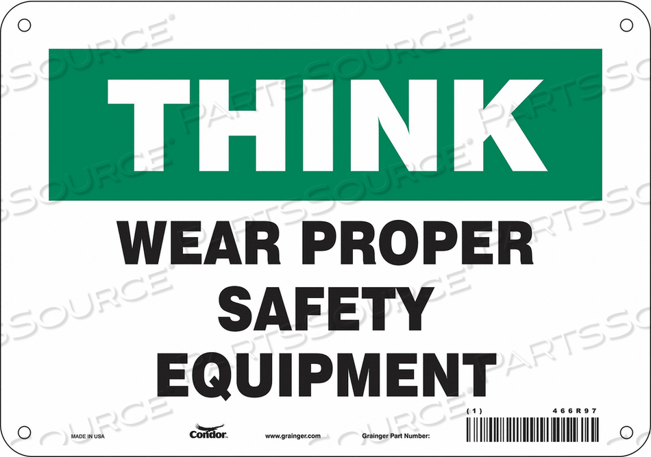 SAFETY SIGN 18 H 18 W PLASTIC by Condor
