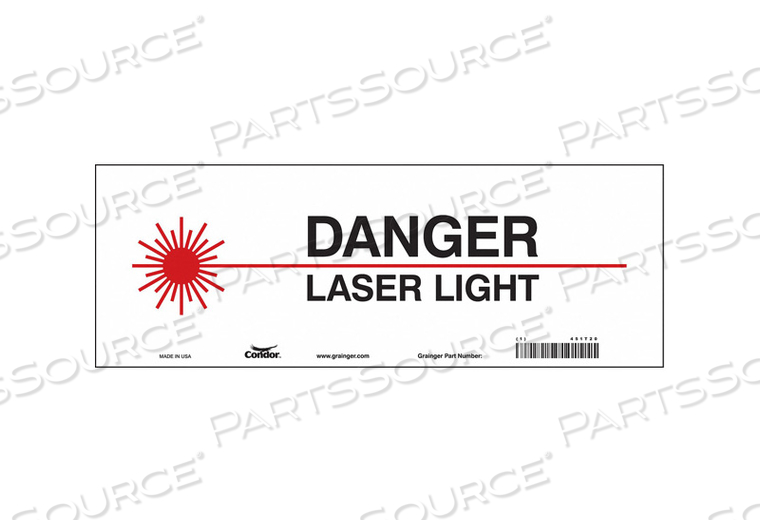 J7008 LASER WARNING 14 W 5 H 0.004 THICK by Condor