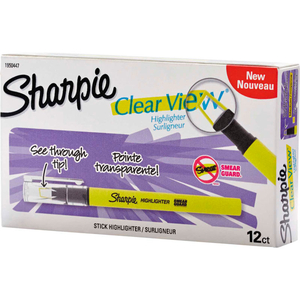 CLEARVIEW PEN-STYLE HIGHLIGHTER - FINE CHISEL TIP - FLUORESCENT YELLOW INK - DOZEN by Sharpie