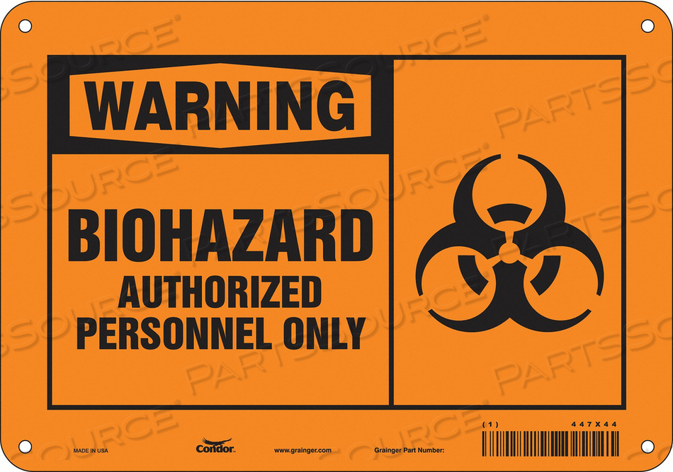 BIOHAZARD SIGN 10 W 7 H 0.060 THICK by Condor