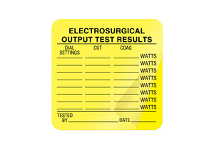 ELECTROSURGICAL OUTPUT TEST RESULT LABEL, FLUORESCENT PAPER, 2-1/2 IN X 2-1/2 IN, FLUORESCENT YELLOW, ENGLISH, -65 TO 180 DEG F by United Ad Label