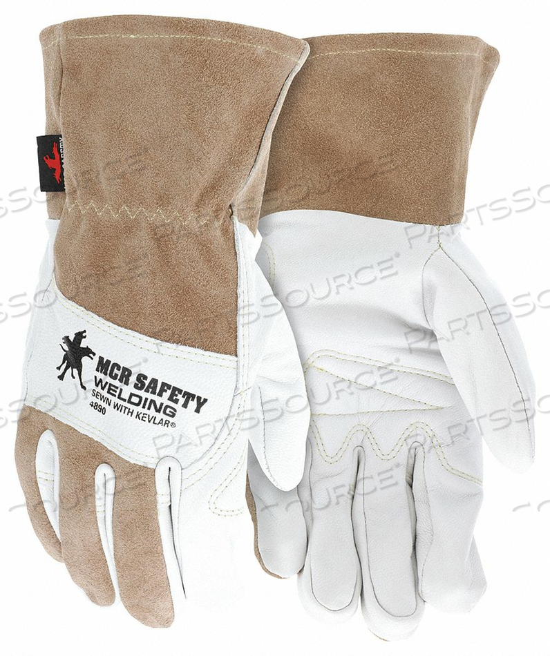 WELDING LEATHER GLOVE BROWN/WHITE L PR by MCR Safety