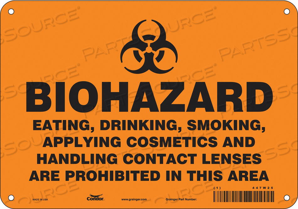 BIOHAZARD SIGN 10 W 7 H 0.055 THICK by Condor