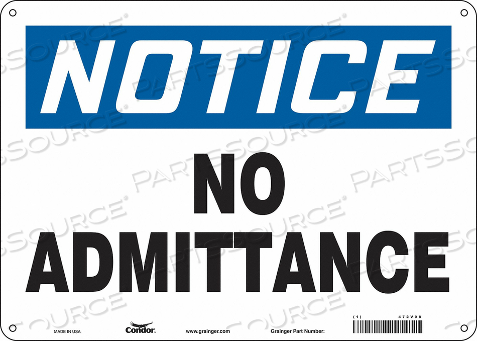J6998 SAFETY SIGN 14 W 10 H 0.055 THICKNESS by Condor