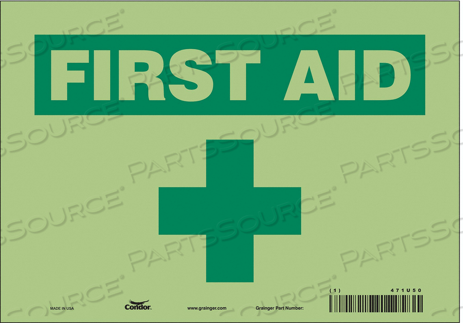 FIRST AID SIGN 10 W X 7 H 0.010 THICK by Condor